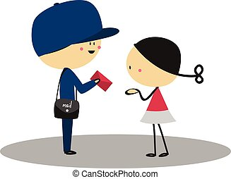 Doodle little girl received letter