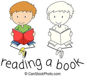 doodle, livro leitura, menino