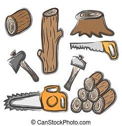 doodle, logboeken, kettingzaag, hout, zaag, bijl