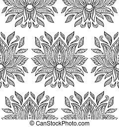 Doodle Lotus Seamless Pattern