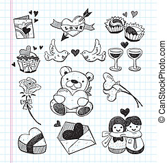 doodle love icons