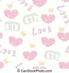Doodle love seamless pattern