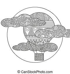 doodle, lucht, origineel, balloon.