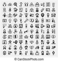 doodle, ludzie, ikony