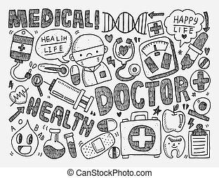 doodle, médico, fundo