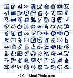doodle, mídia, ícones