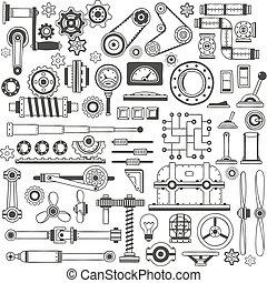 doodle machine parts 1 - Set of industrial machine parts in...