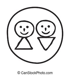 Doodle Man and Woman icon.