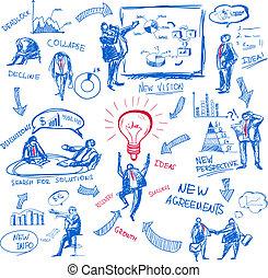 doodle management - Doodle business management icons set ...