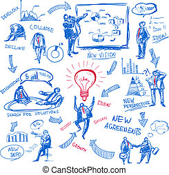 Doodle business management icons set vector illustration