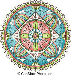 Colorful hand-drawn doodle mandala