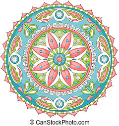 Doodle mandala - Detailed, colorful hand-drawn doodle...