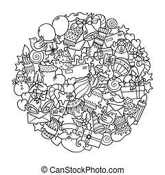 doodle, mandala., inverno, theme., natal