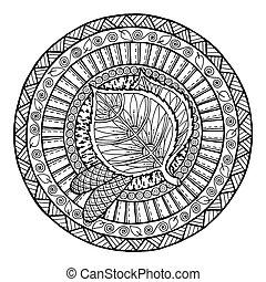 doodle, mandala, ornament., van een stam, theme., herfst