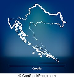 Doodle Map of Croatia