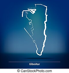 Doodle Map of Gibraltar