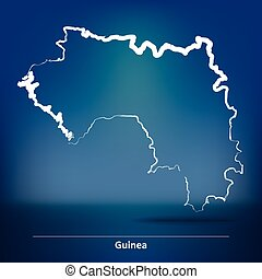 Doodle Map of Guinea