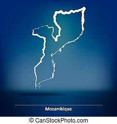 Doodle Map of Mozambique