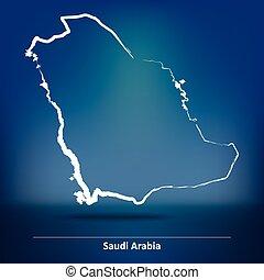 Doodle Map of Saudi Arabia
