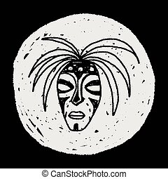 doodle, maska, afrykanin