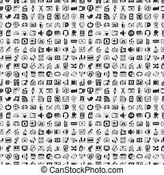 doodle, media, iconen, set