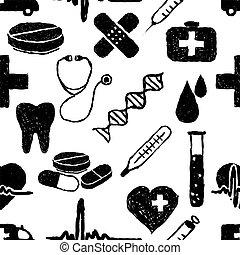 doodle medical seamless pattern