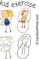doodle, meisje, karakter, excercise
