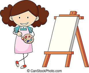 doodle, meisje, schilderij, kunstenaar