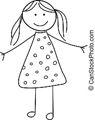 doodle, menina, esboço, criança