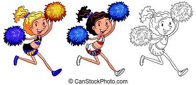 doodle, menina, personagem, cheerleader