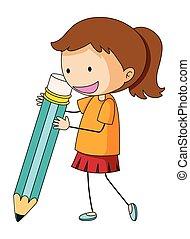 doodle, menina, segurando, lápis