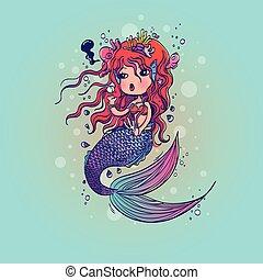 Doodle Mermaid Under the Sea Cartoo