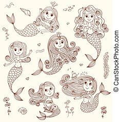 Six cute happy mermaids. Vector sketch cartoon illustration.