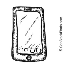 doodle mobile phone, vector