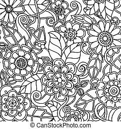 doodle, model, met, doodles, bloemen, en, paisley.
