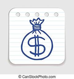 Doodle Money Bag icon. Blue pen hand drawn infographic...