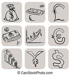 Doodle money icons set
