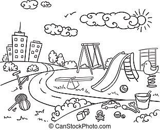 Doodle Monochrome Children Playground Concept