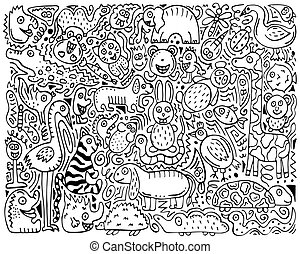 Doodle monochrome poster with hand-drawn zoo animals.
