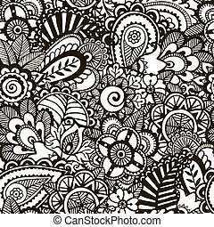 doodle, monochroom, print., seamless, achtergrond.