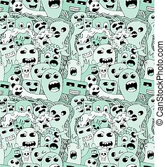 Doodle monsters seamless pattern.