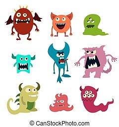 Doodle monsters set. Colorful toy cute alien monster. Vector