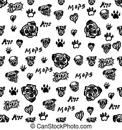 Doodle Mops Dog Seamless Pattern. Black And White Mops