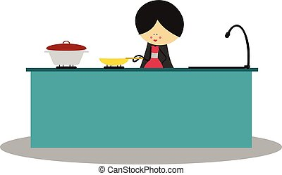 Doodle mother cooking in kitchen