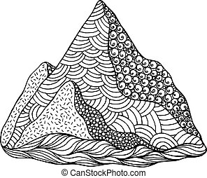 Doodle mountain coloring page. Cartoon artwork with nature eleme