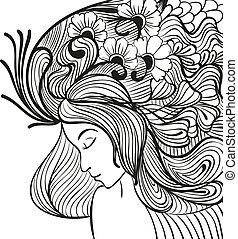 doodle, mulher jovem, com, flores cabelo, retrato