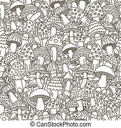 Doodle mushrooms seamless pattern. Black and white fantasy background. Great for coloring book, wrapping, printing, fabric and textile. Vector illustration