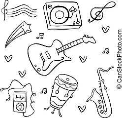 Doodle music hand draw collection