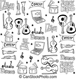 Doodle music icon set vector