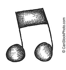 doodle music note,  vector design